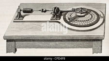 Electric distributor for telegraphic transmission invented by Emile Baudot (1845-1903) - Stock Photo