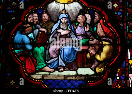 Stained glass in Sainte Clotilde church, Paris, France, Europe - Stock Photo