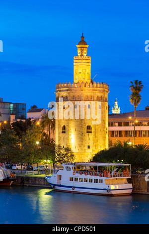 Seville, Torre del Oro at Dusk - Stock Photo