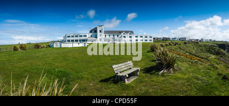 Panorama: The Cliffs Hotel, Gwbert, Cardigan,west wales - Stock Photo