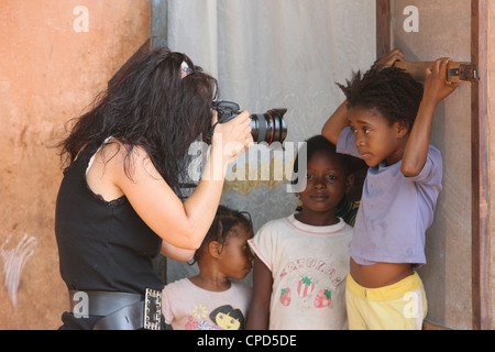 Photographer working in Africa, Lome, Togo, West Africa, Africa - Stock Photo