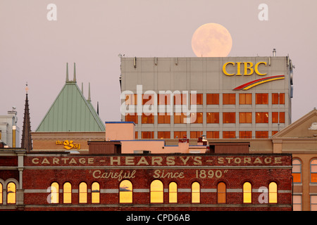 Full moon rising over Victoria city skyline-Victoria, British Columbia, Canada. - Stock Photo