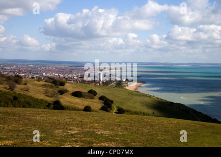 eastbourne viewed from the downs at beachy head - Stock Photo