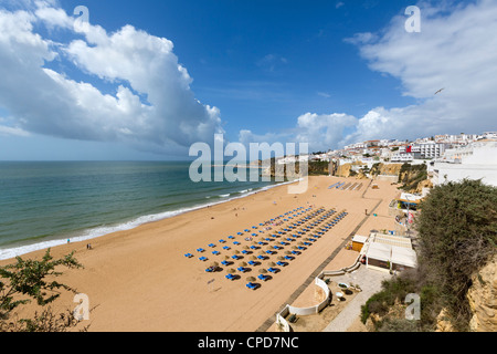 Praia dos Penedo town beach, Albufeira, Algarve, Portugal - Stock Photo
