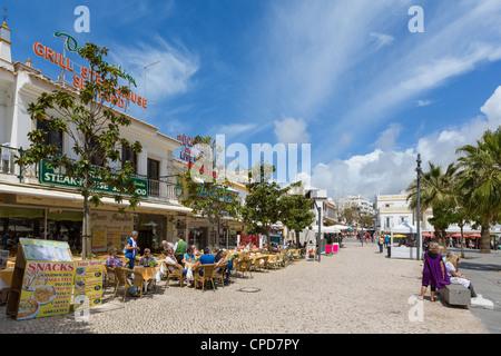 Cafes and bars in the Praca da Republica (Main Square) in the old town centre, Albufeira, Algarve, Portugal - Stock Photo