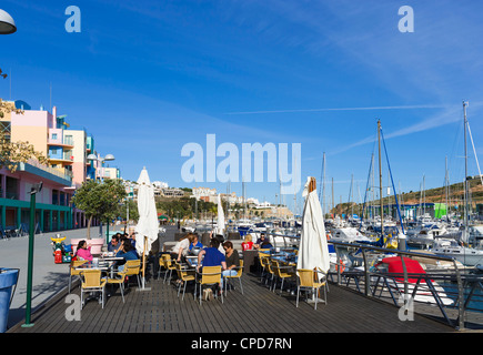 Waterfront cafe in the Marina, Albufeira, Algarve, Portugal - Stock Photo