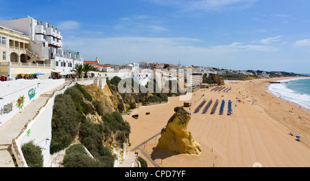 View over Praia dos Penedo town beach, Albufeira, Algarve, Portugal - Stock Photo