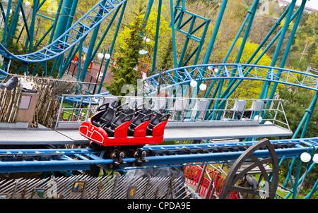 Abandoned fun fair. Roller coaster Stock Photo, Royalty ...