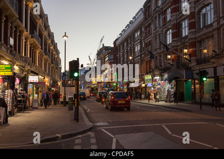 Shaftesbury Avenue in the London West End at Night - Stock Photo