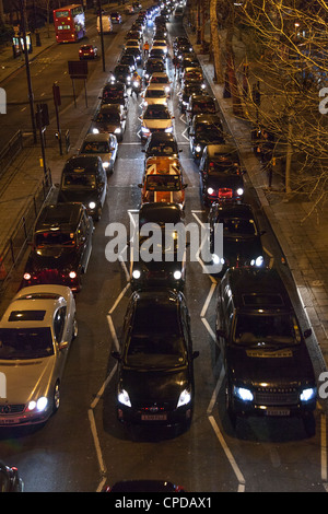 Traffic on Victoria Embankment,London,England - Stock Photo