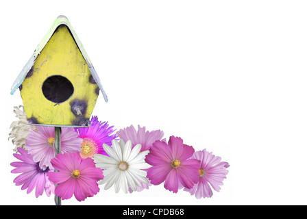 Bird House With Summer Flowers - Stock Photo
