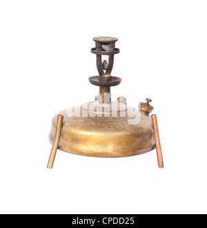 antique camping stove on white background - Stock Photo