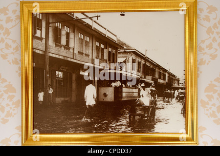 Old picture of floodwaters on street in Bangkok , Thailand - Stock Photo