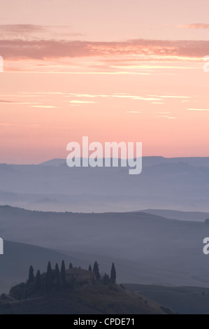 Belvedere and a view over the Val d'Orcia at sunrise, UNESCO World Heritage Site, Tuscany, Italy, Europe - Stock Photo