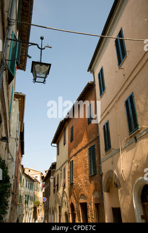 A street of old houses in Montalcino, Tuscany, Italy, Europe - Stock Photo