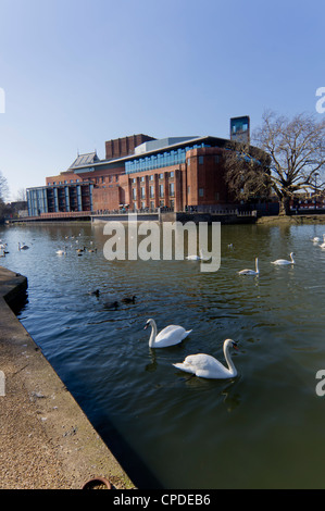 Theatre and River Avon, Stratford upon Avon, Warwickshire, England, United Kingdom, Europe - Stock Photo