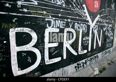 East Side Gallery, Berlin Wall Museum, Berlin, Germany, Europe - Stock Photo