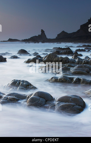 Hartland Quay, Woolacombe, Devon, England, United Kingdom, Europe - Stock Photo
