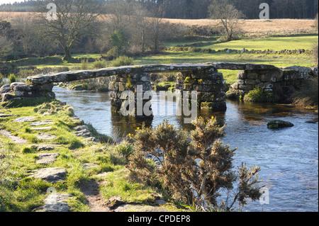 Clapper bridge at Postbridge, Dartmoor National Park, Devon, England, United Kingdom, Europe - Stock Photo
