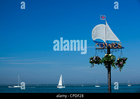 Sail boats on the Solent, Cowes, Isle of Wight, England, United Kingdom, Europe - Stock Photo