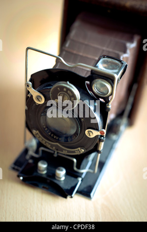 antique Foth plate camera, model made in 1931 in Germany, with leather bellow - Stock Photo