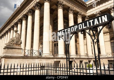 Stock Exchange (La Bourse) and Metropolitain sign at entrance to metro, Place de la Bourse, Paris, France, Europe - Stock Photo
