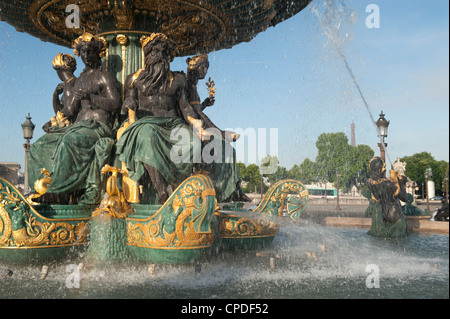 Fountain at Place de la Concorde, Paris, France, Europe - Stock Photo