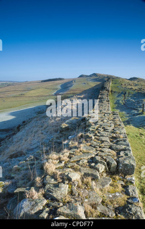 A section of the Wall, Hadrians Wall, Northumberland National Park, Northumbria, England, UK - Stock Photo