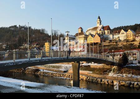Old town of Horb and the frozen River Neckar, Neckartal (Neckar Valley), Baden-Wurttemberg, Germany, Europe - Stock Photo