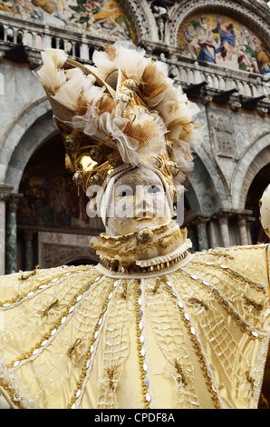 Masked figure in costume at the 2012 Carnival, Venice, Veneto, Italy, Europe - Stock Photo