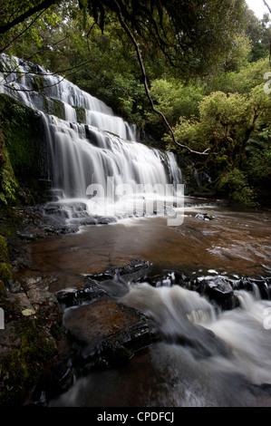 Purakaunui Falls, Southland, South Island, New Zealand, Pacific - Stock Photo