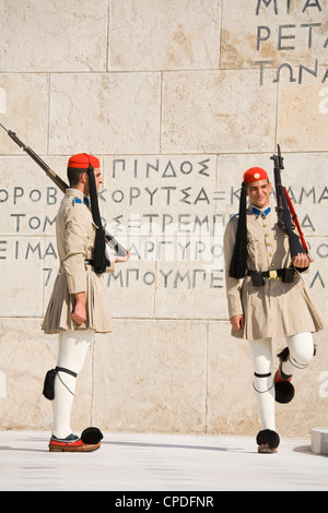 Changing of the Guard at the Tomb of the Unknown Soldier, Athens, Greece, Europe - Stock Photo