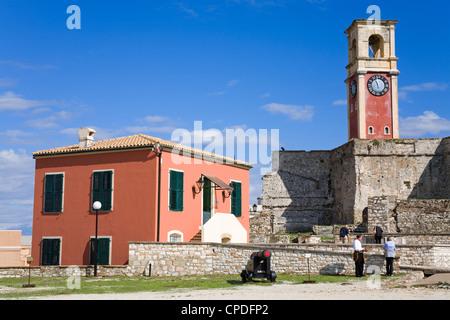 Clock tower in the Old Fortress, Corfu, Ionian Islands, Greek Islands, Greece, Europe - Stock Photo