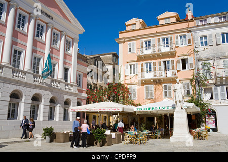 Heroes of Cypriot Struggle Square in Corfu City, Ionian Islands, Greek Islands, Greece, Europe - Stock Photo