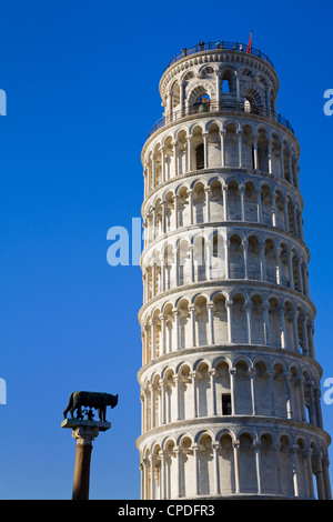 Leaning Tower and statue of Romulus and Remus, Pisa, UNESCO World Heritage Site, Tuscany, Italy, Europe - Stock Photo