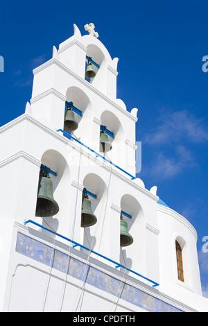 Greek Orthodox Church in Oia village, Santorini Island, Cyclades, Greek Islands, Greece, Europe - Stock Photo