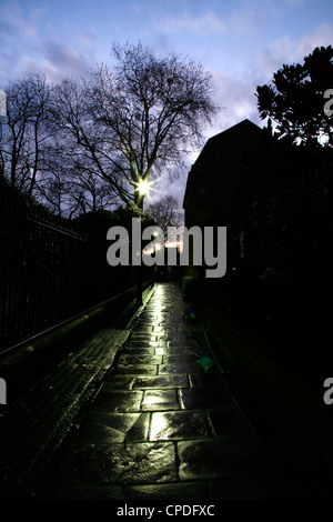 Dusk falling on St Alfege Passage, Greenwich, London, UK - Stock Photo
