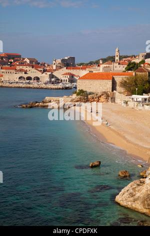 City Beach and Old Town, Dubrovnik, Croatia, Europe - Stock Photo