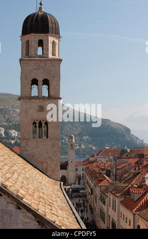 Bell tower of Franciscan Monastery and rooftops from Dubrovnik Old Town walls, Dubrovnik, Croatia, Europe - Stock Photo