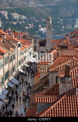 Stradun, Orlando Tower and rooftops from Dubrovnik Old Town walls, UNESCO World Heritage Site, Dubrovnik, Croatia, - Stock Photo