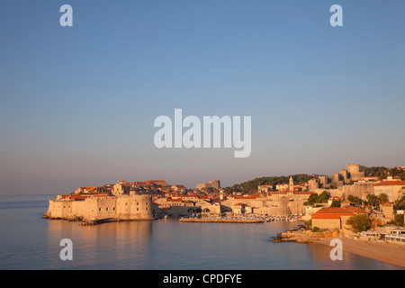 View of Old Town in the early evening, UNESCO World Heritage Site, Dubrovnik, Croatia, Europe - Stock Photo