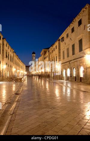 Looking along Stradrun at dusk, Old Town, Dubrovnik, Croatia, Europe - Stock Photo