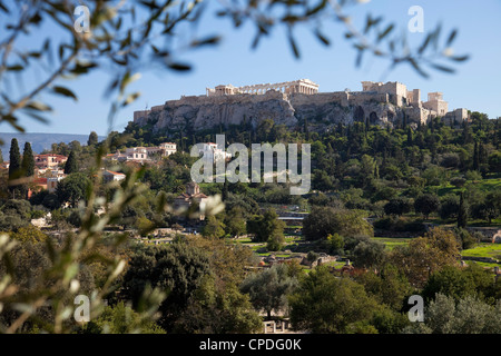 The Acropolis from Ancient Agora, UNESCO World Heritage Site, Athens, Greece, Europe - Stock Photo