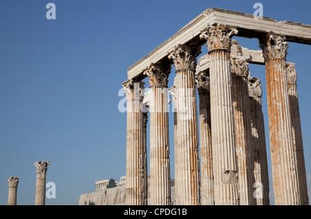 Temple of Olympian Zeus and Acropolis, Athens, Greece, Europe - Stock Photo