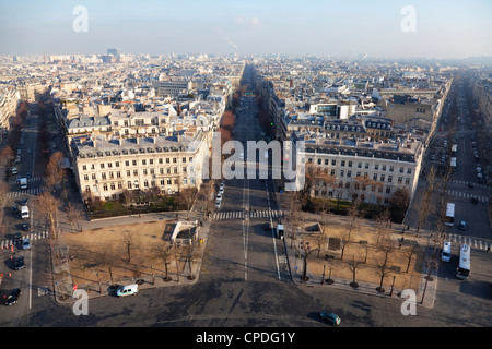 Avenue de Wagram from the top of the Arc de Triomphe, Paris, France, Europe - Stock Photo
