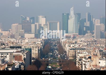 La Defense from the Arc de Triomphe, Paris, France, Europe - Stock Photo