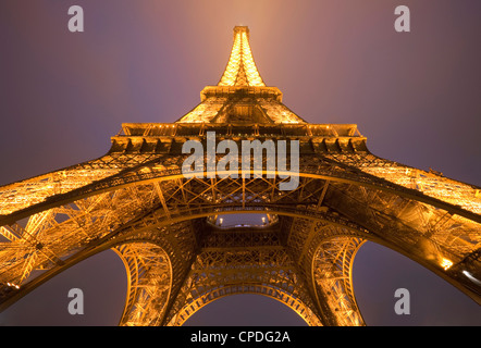 Wide view of the Eiffel tower at night, Paris, France, Europe - Stock Photo