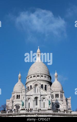 Sacre Coeur Basilica, Montmartre, Paris, France, Europe - Stock Photo