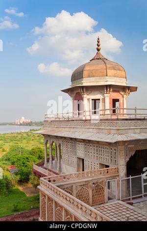 Taj Mahal, UNESCO World Heritage Site, across the Jumna (Yamuna) River from the Red Fort, Agra, Uttar Pradesh state, - Stock Photo