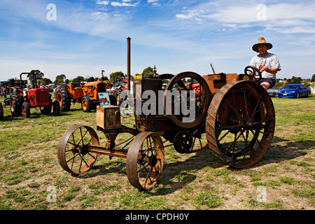 Clunes Australia  /  A very old 1890 vintage Morton tractor is on display at the Historic Vehicle Show. - Stock Photo